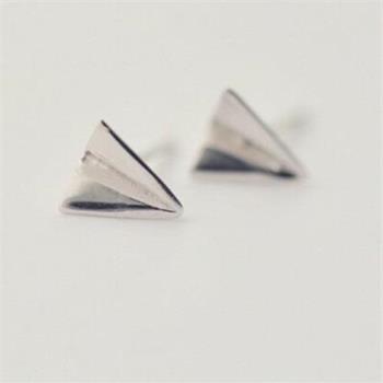 【米蘭精品】925純銀耳環耳針式耳飾童趣紙飛機73ag83
