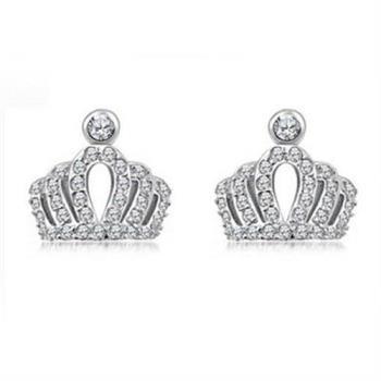【米蘭精品】925純銀耳環鑲鑽耳飾時尚精選精緻皇冠2色73ag234