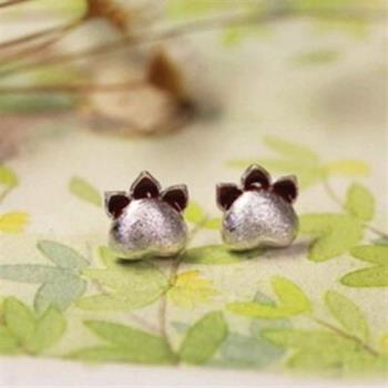 【米蘭精品】925純銀耳環耳針式耳飾韓版可愛龍貓爪2色73ag292