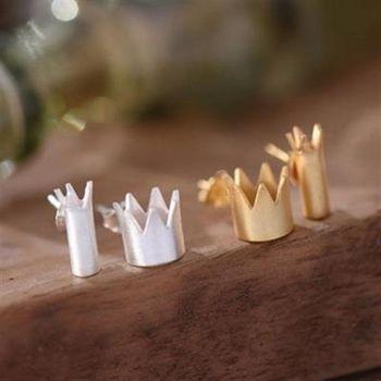 【米蘭精品】925純銀耳環耳針式耳飾國王與皇后皇冠不對稱2色73ag350