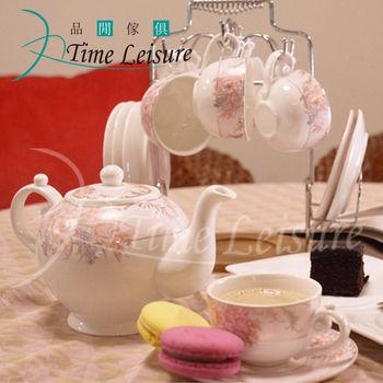 Time Leisure 品閒 花漾雅韻骨瓷咖啡杯盤禮盒13件組(附架)