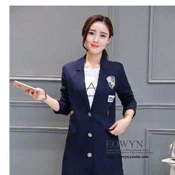 韓版寬松顯瘦貼布圖案中長款外套女長袖POLO領上衣潮藏青色/XS/S/M/L/XL