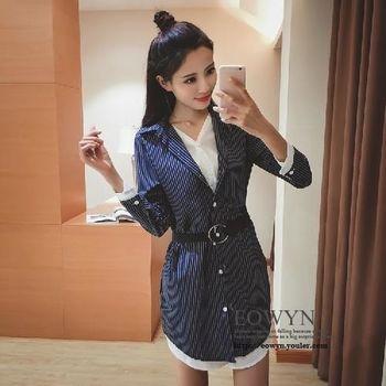 實拍韓版修身顯瘦連體裙子假兩件氣質條紋襯衫女送腰帶藍色/黑色/S/M/L