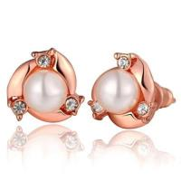 【米蘭精品】純銀耳環鍍18K金珍珠耳飾精緻鑲鑽優雅氣質3色73cg96