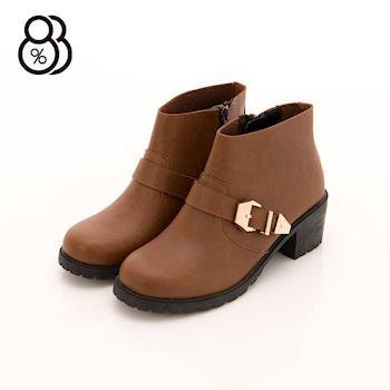 【88%】MIT台灣製 英倫復古 粗跟 中跟高5cm 騎士靴 機車靴 短靴 2色