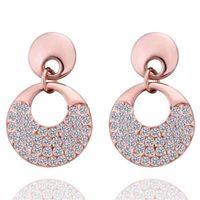 【米蘭精品】純銀耳環鍍18K金鑲鑽耳飾時尚亮麗大方鑲鑽73cg5