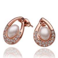 【米蘭精品】純銀耳環鍍18K金珍珠耳飾優雅百搭精緻鑲鑽73cg9