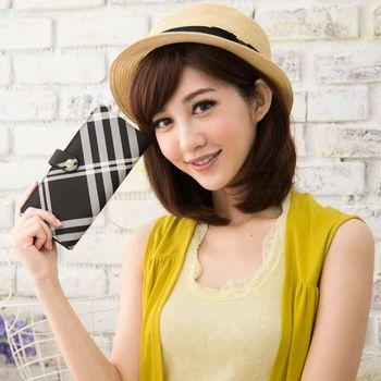 【Miyo】英倫學院風黑白格圓釦兩折長夾