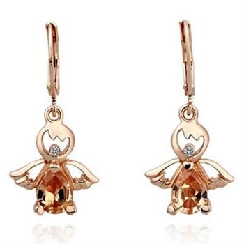【米蘭精品】純銀耳環鍍18K金水晶耳飾垂吊式時尚小天使精美73cg202