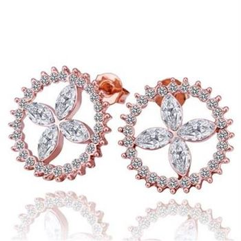 【米蘭精品】純銀耳環鍍18K金水晶耳飾精美齒輪時尚奢華鑲鑽73cg276