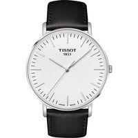TISSOT 天梭 Everytime 經典雋永腕錶-銀x黑色錶帶/42mm T1096101603100
