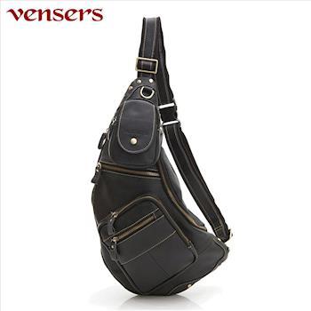 vensers小牛皮潮流個性包胸包黑色N103201