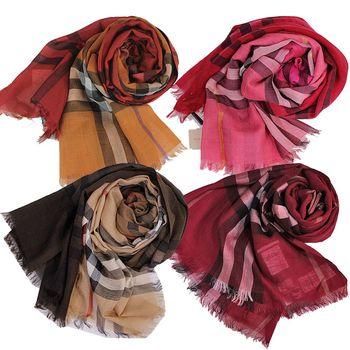 【BURBERRY】經典大格紋羊毛絲綢披肩/圍巾(4色)