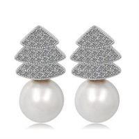 【米蘭精品】純銀耳環鍍白金鑲鑽耳飾韓版亮眼繽紛聖誕樹2色73cr344