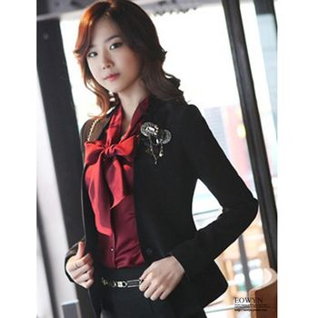 EOWYN.韓版厚款OL淑女職業套裝黑色小西裝外套-黑色M/現貨