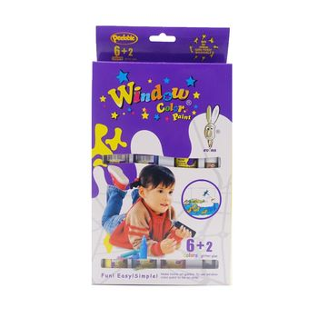 【BabyTiger虎兒寶】愛玩色 兒童無毒彩繪玻璃貼-盒裝組 6+2 色-台灣製