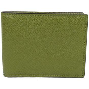 COACH 75093 經典LOGO烙印防刮皮革法式簡約短夾.綠