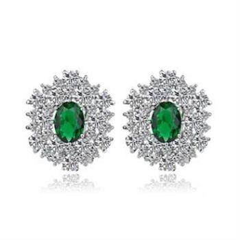 【米蘭精品】純銀耳環鍍白金鑲鑽耳飾歐美高檔奢華耀眼4色73cr260