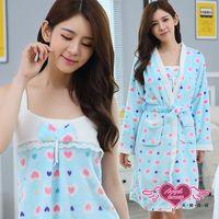 天使霓裳 睡袍 糖蜜佳人 柔軟法蘭絨二件式綁帶睡衣(藍F) UC201