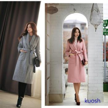 【KUOSH】高雅羊絨綁帶長版外套(PT10507)