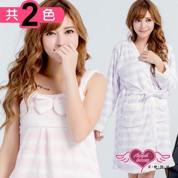 天使霓裳 睡袍 純真甜戀 柔軟法蘭絨條紋二件式綁帶睡衣(共兩色F)