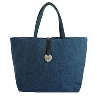 agnes b 圓牌素面棉布手提包(大/藍)
