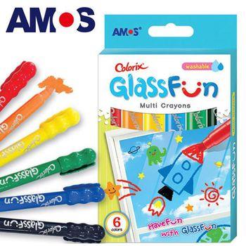 【BabyTiger虎兒寶】韓國 AMOS 多功能玻璃蠟筆 - 6 色