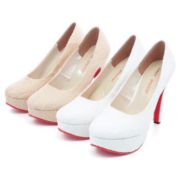 【 cher美鞋】MIT亮眼蕾絲精品級高跟鞋♥白色/香檳色♥01RNN-C