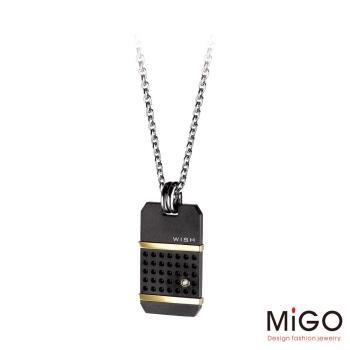 MiGO 希望Wish施華洛世奇美鑽/白鋼男項鍊