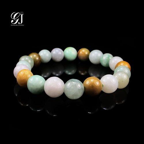 [晉佳珠寶] Gemdealler Jewellery 東方設計美學 天然緬甸A貨 立體多彩翡翠手珠 9mm