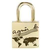agnes b地圖浮刻鎖頭吊飾(金)