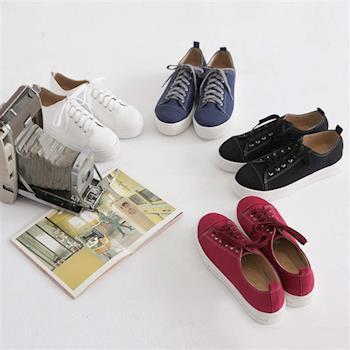 TTSNAP帆布鞋-MIT素面繫帶真皮厚底增高休閒鞋-黑/白/藍/紅-行動
