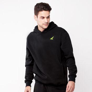 【美國 AIRWALK】素色基本款刷毛連帽T恤-男 -黑