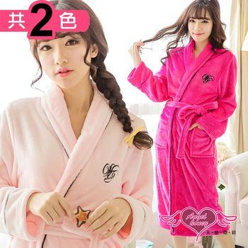 天使霓裳 睡袍 法式情話 柔軟法蘭絨一件式綁帶連身睡衣(共兩色F) ZB1602