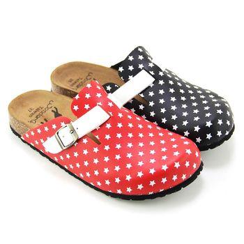 【Pretty】飽和色彩滿天星休閒前包後空拖鞋-紅色、黑色