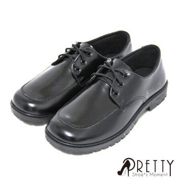 【Pretty】學院風六孔綁帶式圓頭低跟標準學生鞋皮鞋(女款)-黑色