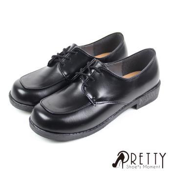 【Pretty】優質綁帶低跟學生皮鞋(女款)-黑色