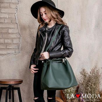 La Moda 簡約經典超大容量可變換包型荔枝紋肩背側背大包 (共5色)