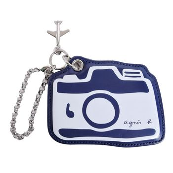 agnes b. 相機圖案皮革吊飾(藍)