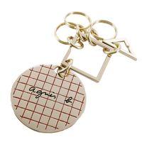 agnes b.幾何圓牌鑰匙圈(金)