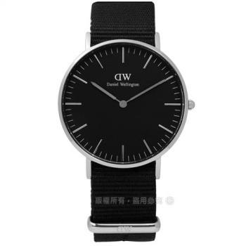 DW Daniel Wellington★贈玻璃膜 / DW00100151 / Classic Black 經典簡雅尼龍手錶 黑色 36mm