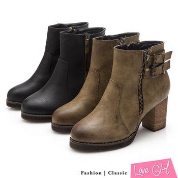 ☆Love Girl☆率性造型雙拉鍊後環扣高跟短靴