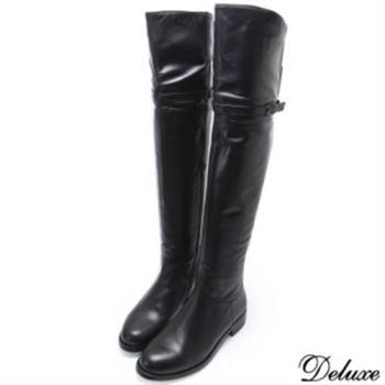 【Deluxe】細線帶可折兩穿式低跟長筒靴(黑色)-1316-62-21