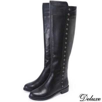【Deluxe】摩登都會時尚流行全真皮帥氣長筒靴(黑)-1316-W20-19