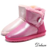 【Deluxe】半筒羊毛雪靴(真皮毛一體 桃紅/粉紅)-5803-B