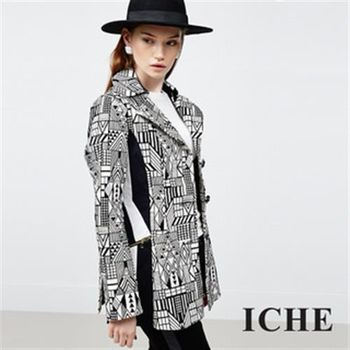 【ICHE 衣哲】幾何長版拼接外套