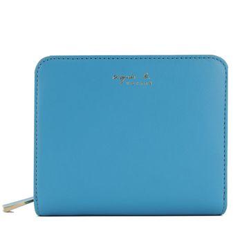agnes b. VOYAGE素面皮革短夾(藍)