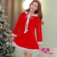 天使霓裳 聖誕服 俏皮連帽派對角色扮演服(紅F) CG90012