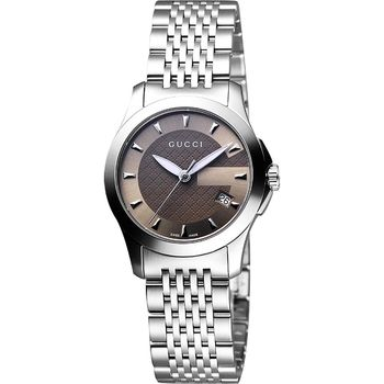 GUCCI G-Timeless 經典古馳菱格紋時尚腕錶-咖啡/27mm YA126503