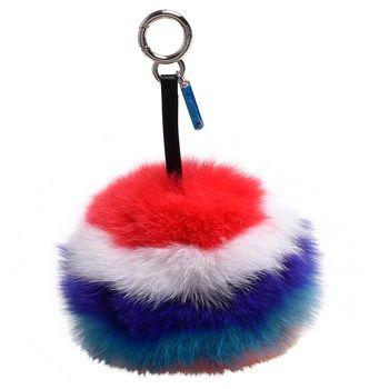 FENDI POMPON系列亮混色狐狸毛球背包吊飾(紅)